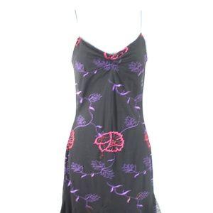 Betsey Johnson black red purple floral slip dress